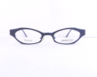 90s Prodesign Danish Eyewear Eyeglasses Women's 1990's Indigo Readers Made in Denmark NOS Comes with Case #M398 DIVINE