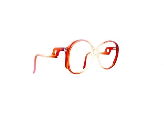 70s Eyeglasses Frames Women's Vintage 1970's Translucent Red to White Fade Outs Frames with Drop Arm #M469