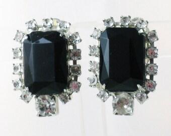 Vintage Kirk's Folly Black Glass and Clear Rhinestone Clip Earrings  (E-1-2)