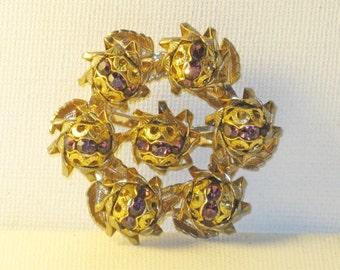 Vintage Amethyst Rhinestone Filigree Brooch Pin  (B-3-2)