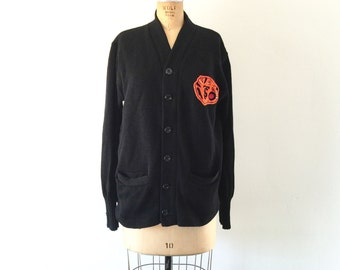1950s Vintage High School Stadium Sweater Varsity Mascot Tiger Patch Black Wool Knit Cardigan L