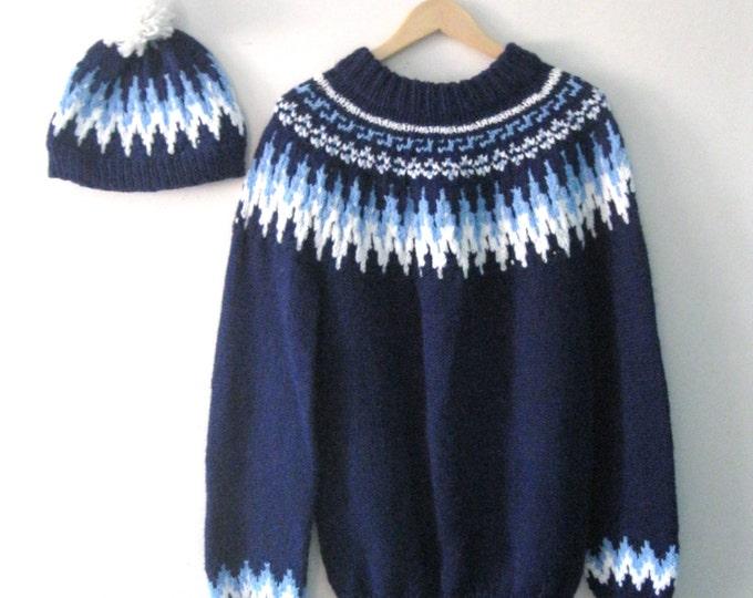 Vintage Winter crochet sweater and hat set / Ski sweater beanie Unisex gift set winter wear