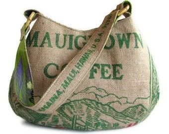 MTO. Custom. Mauigrown Coffee Hobo Handbag and Repurposed Burlap Coffee Bag. Handmade in Hawaii.