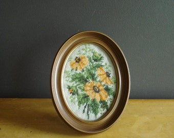 Black Eyed Susans - Vintage Floral Cross Stitch Wildflower Art for Your Wall - Flower Needlepoint