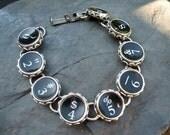 Typewriter Key Bracelet - Antique Typewriter Jewelry -  B154