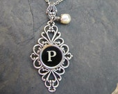 Initial Necklace - Typewriter Key Jewelry - Typewriter Necklace Letter P