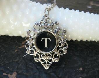 Typewriter Key - Initial T - Typewriter key Jewelry - Typewriter Necklace