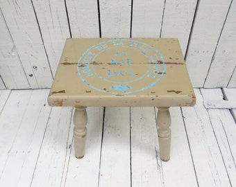 Old Stool, Small Stool, Farmhouse Stool, Vintage Stool, Beige Wooden Stool, Paris Flea Market, French Cottage, Rustic Stool, Shabby and Chic