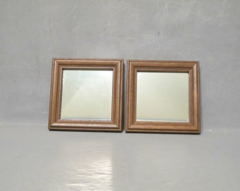 Vintage Wall Mirrors Set of 2 NOS / Pair of Small Square Mirrors in Dark Wood Frame, Rustic Decor Farmhouse Primitive Modern, New Old Stock