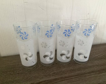 Vintage blue & white frosted drinking glasses - set of 4