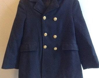 Vintage child's Military Navy wool Coat.  John John Kennedy.  Size 6.  Vintage 1960. Fancy Dress Coat.  Mad Men's child.