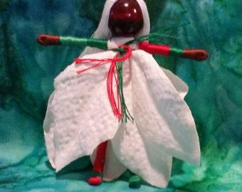 Poinsettia  Fairy - Black Fairy - African American Fairy Doll - Christmas Fairy-  Flower Fairy - Waldorf doll, Christmas ornament ornament