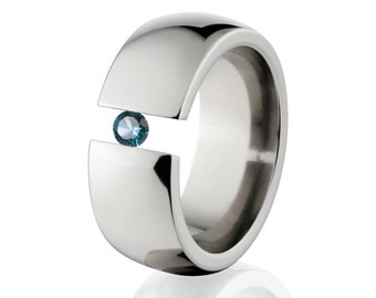 Uniquely You- Tension Set- Blue Topaz- Ring-   8HR-P-Tension