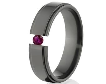 Tension Set Ring, Uniquely You, Black Zirconium, Ruby -  BZ-6RC-P-Tension