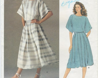 Vogue Loose Fitting Boxy Top & Flared Pleated Skirt Sewing Pattern Size 6 Vogue 1160, UNCUT, Perry Ellis American Designer
