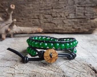 Green Jade Double Wrap Leather Bracelet, 6mm, coconut button