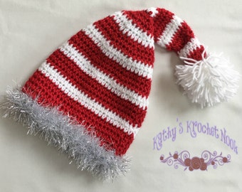 crochet baby hat, winter hat, baby accessories, crochet hat, red and white baby hat, striped hat, baby gift, holiday hat