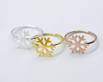 2Pcs Nickel Free - High Quality Rose Gold/Silver/Golden Brass Snowflake Ring (RB011)