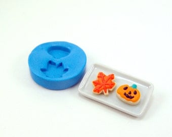 Polymer Clay Mold // Flexible Silicone Mold // Dollhouse Cookies Leaf and Pumpkin // 1:12 Scale Food Projects
