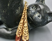 Brass Filigree and Deep Dark Red Tiger Eye Earrings