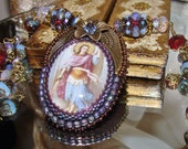 RESERVED for S.H. Archangel Michael bead embroidery cabochon prayer pendant necklace  Pamelia Designs Sacred Jewelry