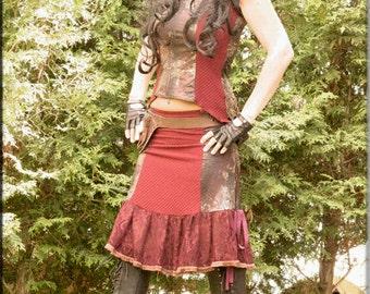 Top - Steampunk - Burning Man - Tunic - Playa Wear - Cosplay - Bohemian Gypsy - Victorian - Sexy Goth - Red Top - Size Medium