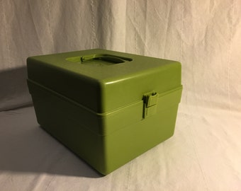 Olive Green Wil-Hold Wilson Sewing Pattern Case / Craft Storage Caddy with Plastic Latch