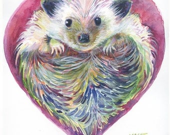 Original Watercolor - 11x11 inches - HedgeHog Heart - Day 43 of 366 paintings