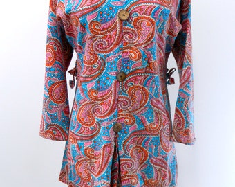 Vintage 1970s Tunic Blouse...Retro Paisley Patterned Pullover Tunic Blouse...70s Paisley Beach Coverup..Size Small to Medium..3/4 sleeves