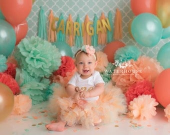 Peach Mint and Gold Tutu Dress Outfit, Baby Girls 1st Birthday Outfit, Cake Smash Dress