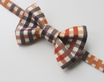 Little and Big Guy Bow Tie Bowtie - Fall Plaid - (Newborn-Adult) - (Made to Order) Rust Orange Tan Brown Gold Gray