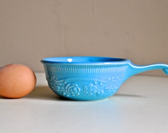 Vintage Taylor Smith Taylor Blue Bowl with Handle TST Genuine Oven Serve Ware Turquoise