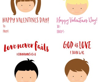 Valentine Cards - Printable Kids Valentine Cards - Personalized Childrens Valentine - Bible Verse Valentine - Personalized Illustration
