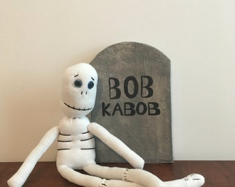 Walter Noggins Sock Skeleton Doll, OOAK Halloween Decoration, Gift for child or adult
