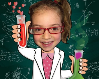 Valentine Card - Science - Personalized with photo - PRINTABLE