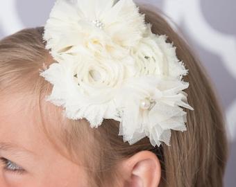 ivory elastic headband, cream headband, ivory flower headband, baby headband, toddler headband, bridal headband, flower girl headband,