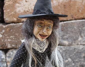 Halloween Witch one of a kind art doll Crazy Eye Cleopath black ecru antique Victorian dress bobbin lace handmade sculpture posable limbs