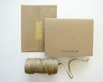 Simple Thank You Cards Personalized Wedding Bride and Groom Rustic Brown Kraft Set of 25 with Envelopes