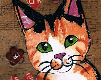 """Calico Cat, Original Mixed Media ACEO, Collage, One of a Kind Miniature Art, Kitten Painting, """"Meow"""""""