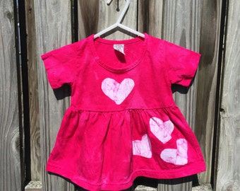 Pink Baby Dress, Fuchsia Baby Dress, Baby Hearts Dress, Baby Girl Dress, Baby Girl Gift, First Birthday Gift, Pink Girls Dress (12 months)