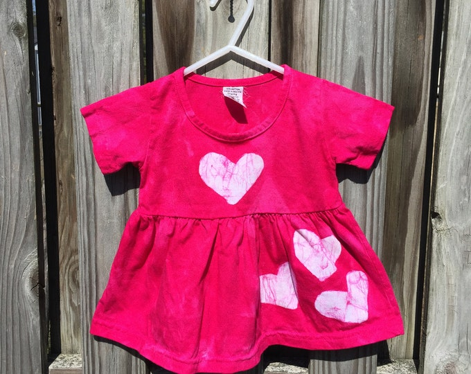 Pink Baby Dress, Baby Easter Dress, Fuchsia Baby Dress, Baby Hearts Dress, Baby Girl Dress, Baby Girl Gift, First Birthday Gift (12 months)