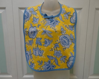 READY TO SHIP: Make up bib/cover-up /special needs adult bib,Yellow and blue floral print/yellowside.