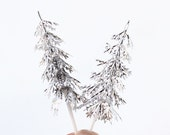 Silver Pine Tree Cupcake Toppers, Winter Cupcake Picks, Christmas Cupcake Toppers (12)