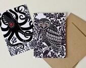 Octopus and Owl 'Animal Dioramas' - Set of 2 Greeting Cards