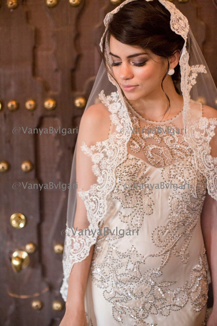 Wedding Mantilla Veil cathedral lace veil mantilla in spanish classic style lace