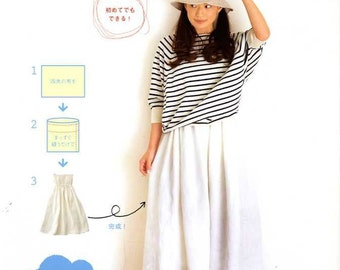 Easy Straight Sewing, Yumi Soeda, Japanese Craft Book for Women Clothing - Sewing Tutorial - Comfortable Skirt, Blouse, Pants, Dress - B1659