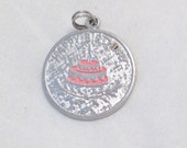pink enamel icing birthday cake sterling silver Happy Birthday Engraveable disc tag bracelet charm or necklace pendant Blingschlingers