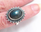 7.5 blue fire gray labrodite gemstone solitaire ring band w/ beadwork setting 925 sterling silver Blingschlingers jewelry adoption center