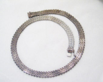 17 inch in Vintage sterling silver weave foxtail ricco woven basket wide fishbone link Designer Milor Italian made chain necklace collar