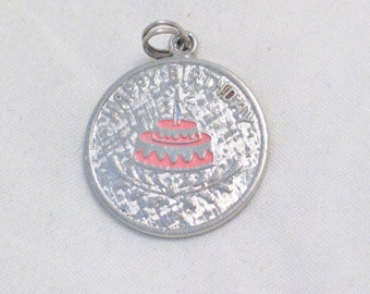 Sterling Silver Happy Birthday disc charm pendant pink enamel cake Engraveable tag 4 bracelet or necklace Blingschlingers jewelry adoption
